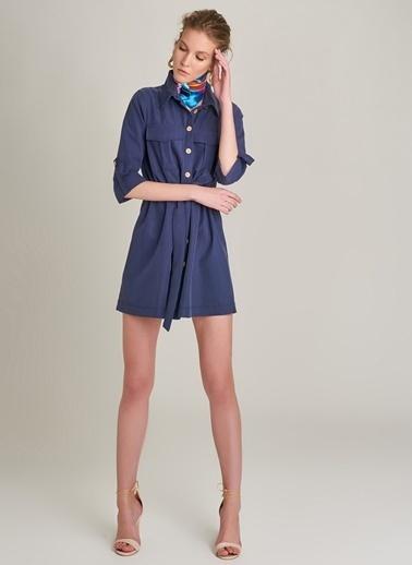 Monamoda Cep Detaylı Düğmeli Elbise Lacivert